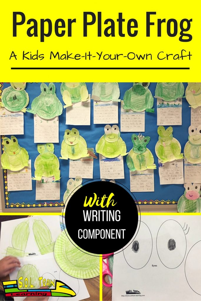 Frog crafts and writing with text overlay-Paper Plate Frog A Kids Make-it-yourself Craft