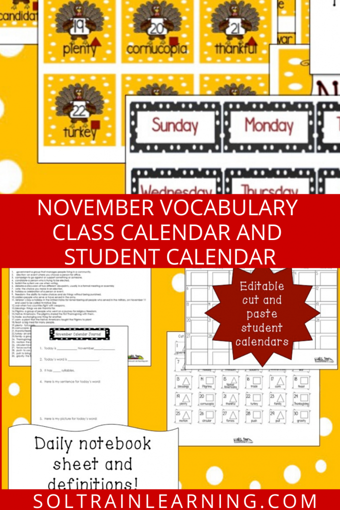 November Vocabulary Calendar