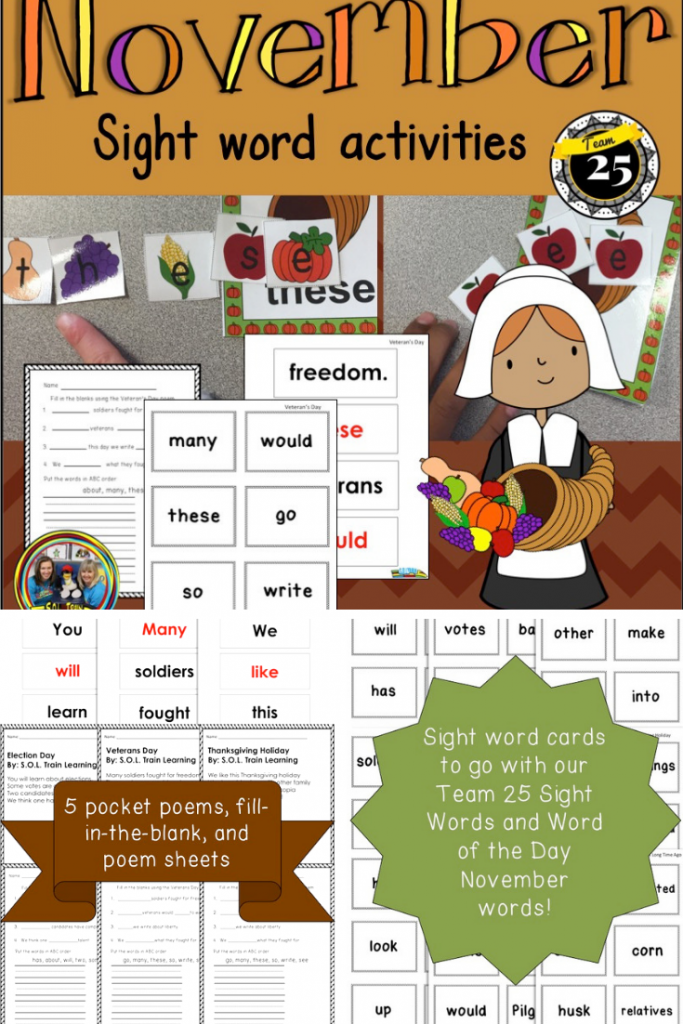 picture of November Sight Words