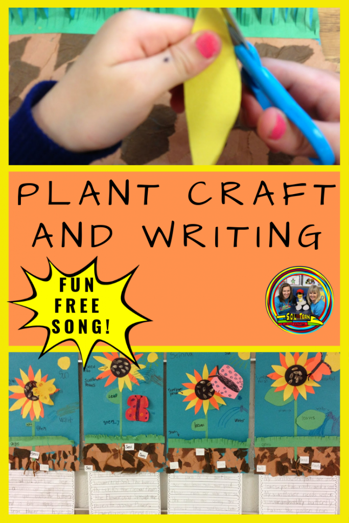 picture of sunflower craft and title is Plant Craft and Writing-Fun Free Song