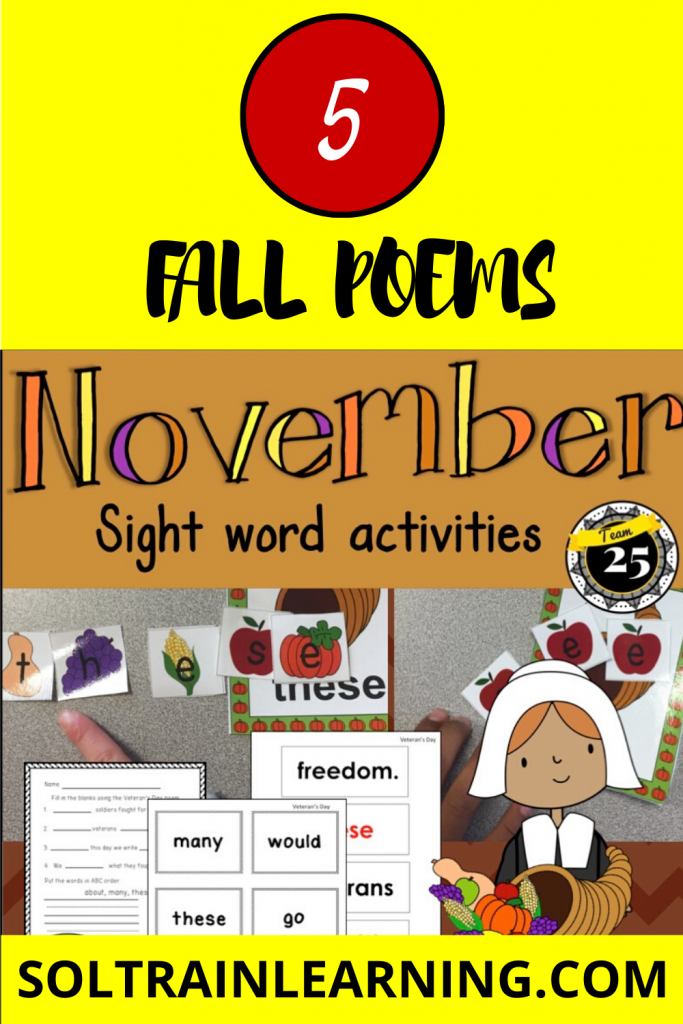 November sight word center and poems