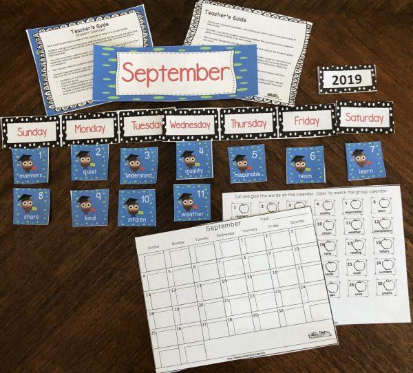 September Vocabulary Calendar