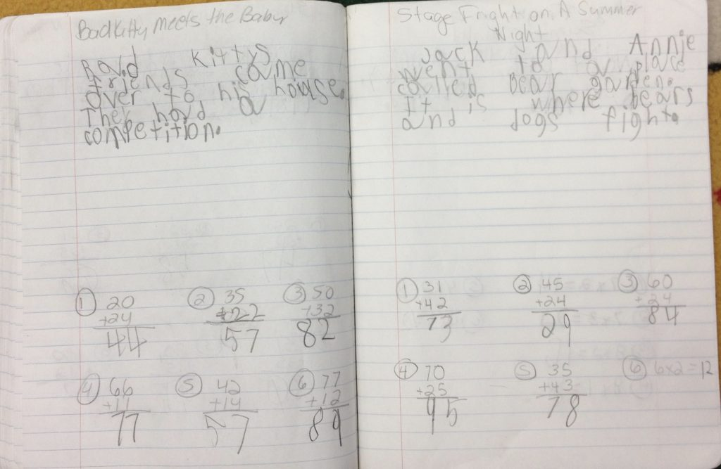 Reading and Math Journal entries