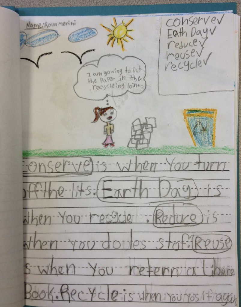 First Grade writing about Earth Day