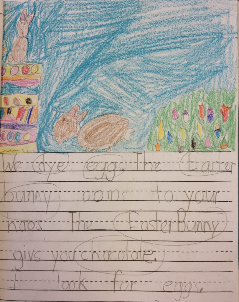 First Grade Easter Writing using content-area vocabulary