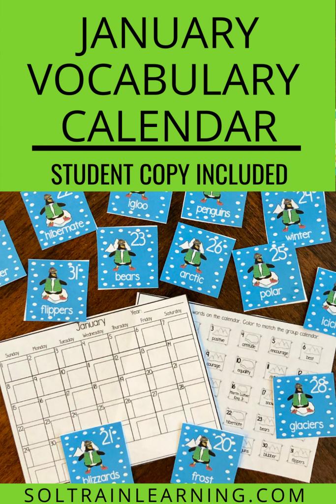 January Vocabulary Calendar