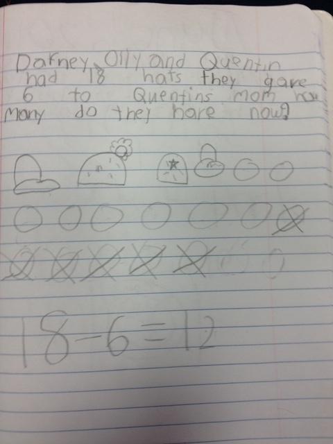 First Grader's math journal
