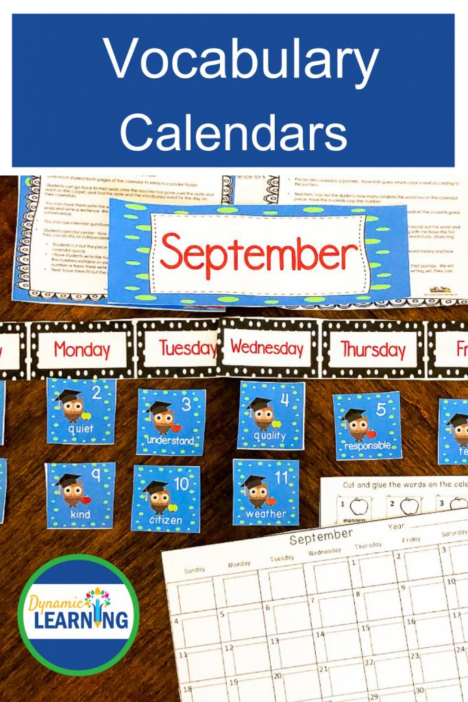 picture of September Vocabulary Calendar