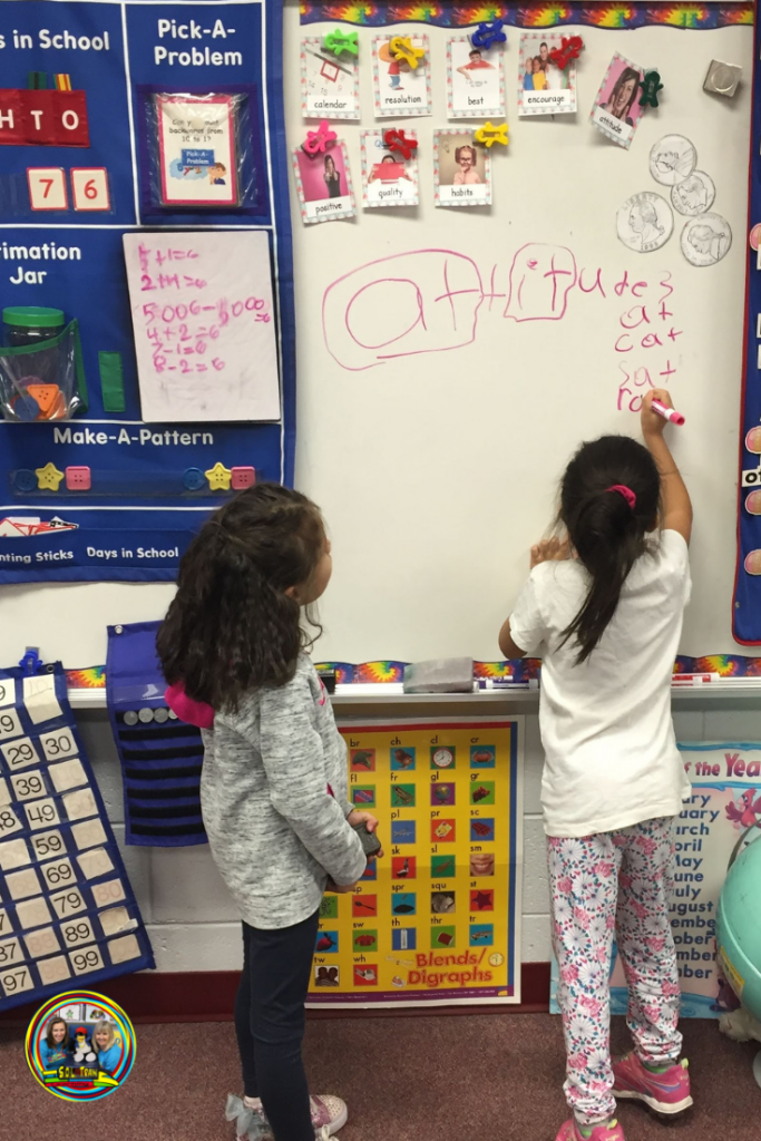 ELL students doing word wall activities